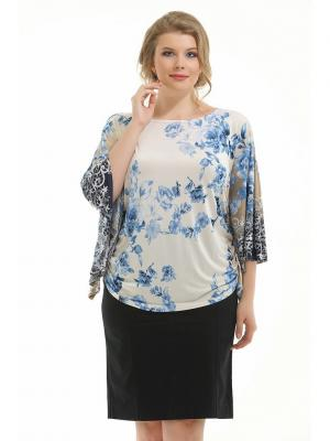 Блузка Pretty Woman. Цвет: серо-голубой, молочный