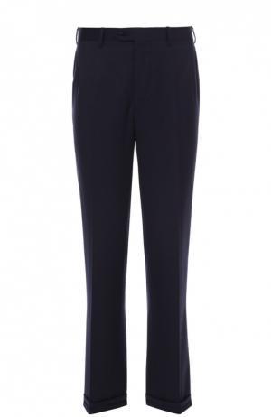 Шерстяные брюки прямого кроя Brioni. Цвет: темно-синий