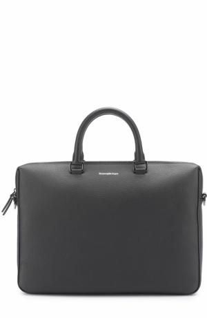 Кожаная сумка для ноутбука с внешним карманом Ermenegildo Zegna. Цвет: темно-синий