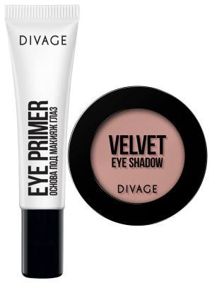 Основа под макияж глаз Eye Primer + тени для век Velvet, тон 7307 DIVAGE. Цвет: прозрачный, серо-коричневый