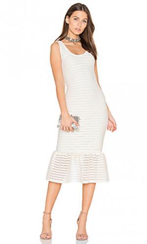 Облегающее платье с сеточкой крошё twenty. Цвет: ivory
