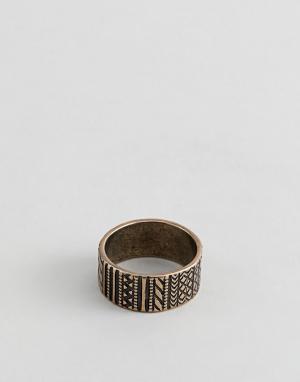 ASOS Золотистое кольцо с ацтекской отделкой DESIGN. Цвет: золотой
