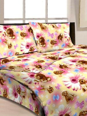 Комплект постельного белья Догги Letto. Цвет: розовый, голубой, желтый, коричневый