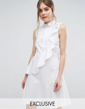 Closet London Платье-рубашка с рюшами. Цвет: белый