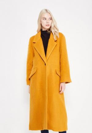 Пальто Mango. Цвет: оранжевый