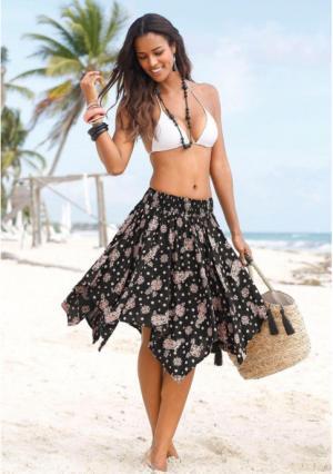 Пляжная юбка Lascana. Цвет: черный/розовый