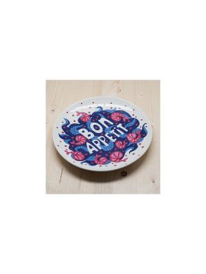 Тарелка Бон аппетит! Море Kawaii Factory. Цвет: синий, белый, красный