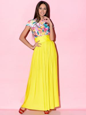 Платье Colambetta. Цвет: желтый, красный