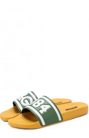 Резиновые шлепанцы Saint Barth с кожаной отделкой Dolce & Gabbana. Цвет: желтый