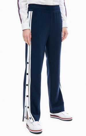 Синие брюки с кнопками на штанинах Tommy Jeans. Цвет: синий