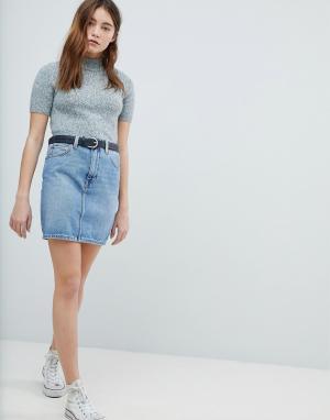 ASOS Синяя выбеленная джинсовая юбка с завышенной талией DESIGN. Цвет: синий