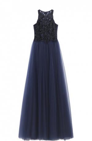 Приталенное платье в пол с вышивкой бисером Basix Black Label. Цвет: темно-синий
