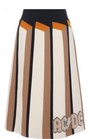 Юбка-миди из смеси шерсти и шелка с отделкой Gucci. Цвет: черный