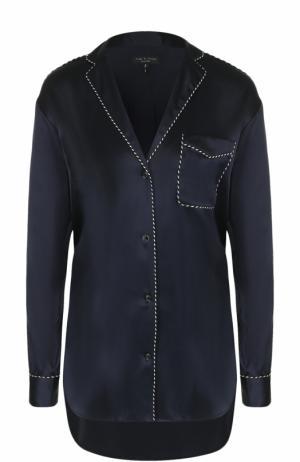 Шелковая блуза свободного кроя с контрастной отделкой Rag&Bone. Цвет: темно-синий