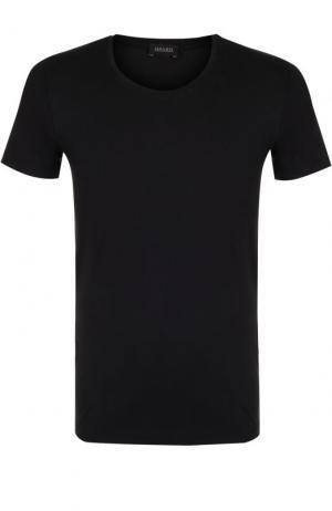 Хлопковая футболка с круглым вырезом Hanro. Цвет: черный