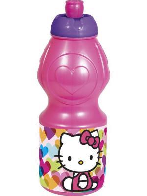 Бутылка пластиковая (спортивная, фигурная, 400 мл). Hello Kitty Сердечки Stor. Цвет: белый, розовый