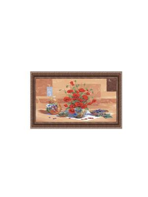 Натюрморт с маками В198 Картина в раме 20х50 PROFFI. Цвет: красный, зеленый, светло-коричневый