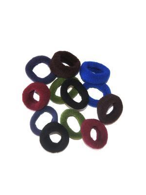 Резинки, 12 шт Lola. Цвет: синий, бордовый, зеленый
