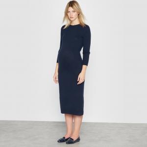 Платье вязаное для периода беременности La Redoute Collections. Цвет: темно-синий