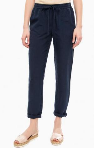 Синие зауженные брюки с карманами Gant. Цвет: синий