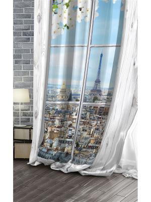 Штора (1 шт.), Волшебная ночь, 220*270см., ткань-Сатен, стиль-Лофт, дизайн-Paris ночь. Цвет: серый, белый, голубой