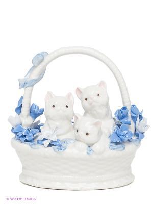 Фигурка Котята в корзинке Pavone. Цвет: белый, серый