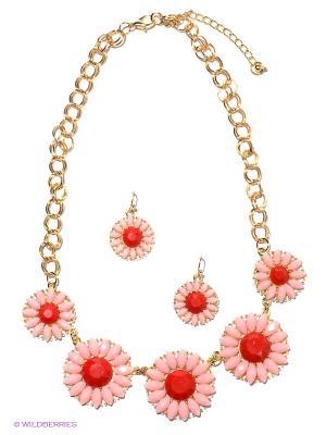Комплект Lovely Jewelry. Цвет: золотистый, красный, розовый