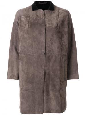 Пальто со вставками с заниженной линией плеч Salvatore Santoro. Цвет: серый