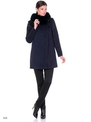 Пальто GallaLady. Цвет: темно-синий