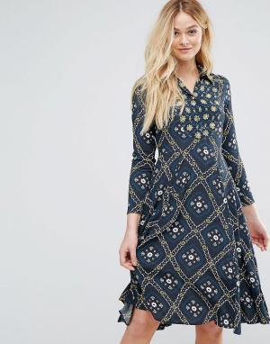 Closet London Платье на пуговицах с воротником. Цвет: зеленый
