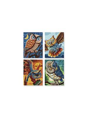 4 картины, Совы мудрости, 18х24см, 1/6 Schipper. Цвет: коричневый