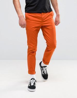ASOS Чиносы скинни выгоревшего оранжевого цвета. Цвет: коричневый