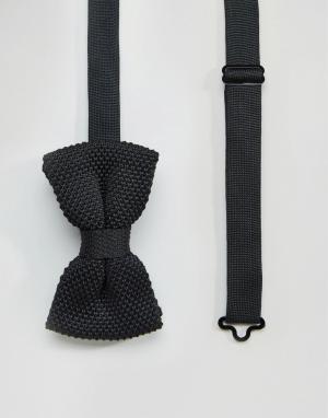 7X Вязаный галстук-бабочка в горошек. Цвет: черный