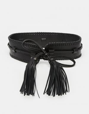 Becksondergaard Кожаный ремень с кисточками. Цвет: черный