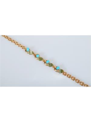 Браслет Бирюза-нефрит Lotus Jewelry. Цвет: золотистый, зеленый, бирюзовый