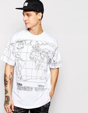 Ichiban Футболка с картой мира. Цвет: белый