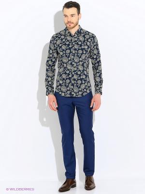 Рубашка Sisley. Цвет: синий, бежевый