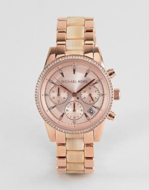 Michael Kors Наручные часы-хронограф цвета розового золота MK6493 Ritz. Цвет: золотой