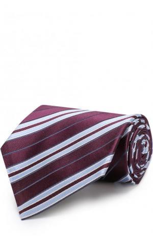 Шелковый галстук в полоску Z Zegna. Цвет: бордовый