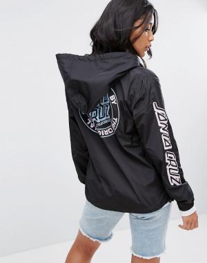Santa Cruz Куртка с капюшоном, молнией 1/2 и логотипом. Цвет: черный