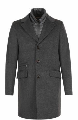 Шерстяное однобортное пальто с пуховой подстежкой Moorer. Цвет: серый