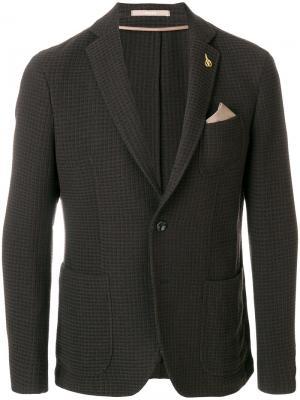 Пиджак с нагрудным платком Paoloni. Цвет: синий