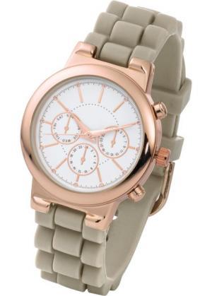 Часы на силиконовом браслете (серо-коричневый/розово-золотистый) bonprix. Цвет: серо-коричневый/розово-золотистый