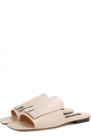 Кожаные сабо с металлической отделкой Sergio Rossi. Цвет: кремовый