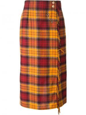 Юбка-брюки в клетку Louis Feraud Vintage. Цвет: жёлтый и оранжевый