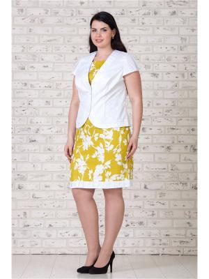 Костюм жакет и платье MAXLINE. Цвет: горчичный, белый