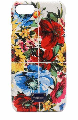 Кожаный чехол для iPhone 7 с принтом Dolce & Gabbana. Цвет: разноцветный