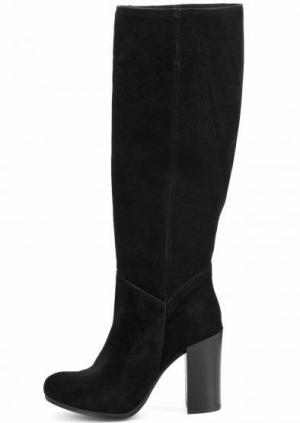 Замшевые черные сапоги на каблуке UNISA. Цвет: черный