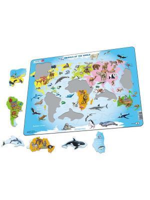 Пазл Карта мира с животными LARSEN AS. Цвет: голубой, рыжий