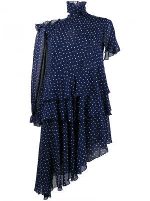 Асимметричное платье Midol Sandy Liang. Цвет: синий